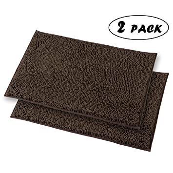 Mayshine 2 Piece 20x31 inch Non-slip Bathroom Rug Shag Shower Mat Machine-washable Bath mats with Water Absorbent Soft Microfibers of - Brown