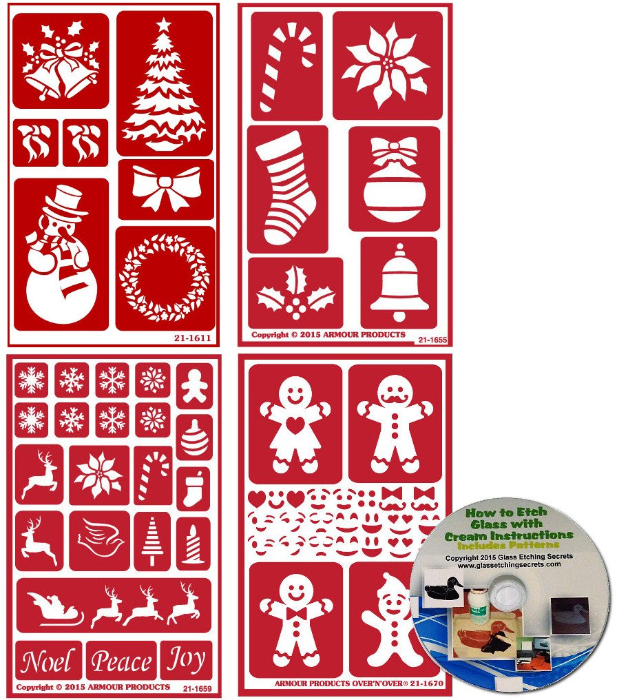 4 Pack of Christmas Stencils , Over N Over Reusable + How to Etch CD by Armour