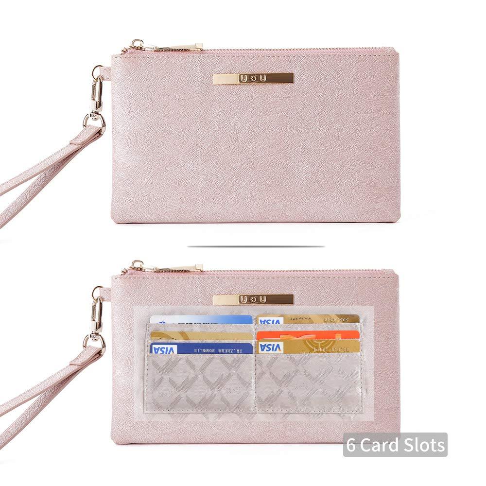 U+U Ladies Glitter Purse with 6 Card Slots Soft Lightweight PU Leather Womens Large Wristlet