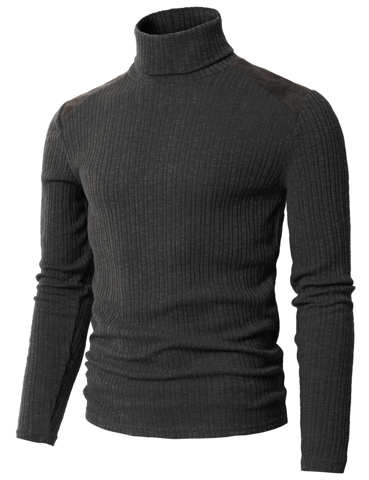 H2H Mens Turtleneck Sweater for Men Wool-Blend Knitted Pullover Slim Fit Charcoal US 3XL/Asia 4XL (CMTTL099) by H2H