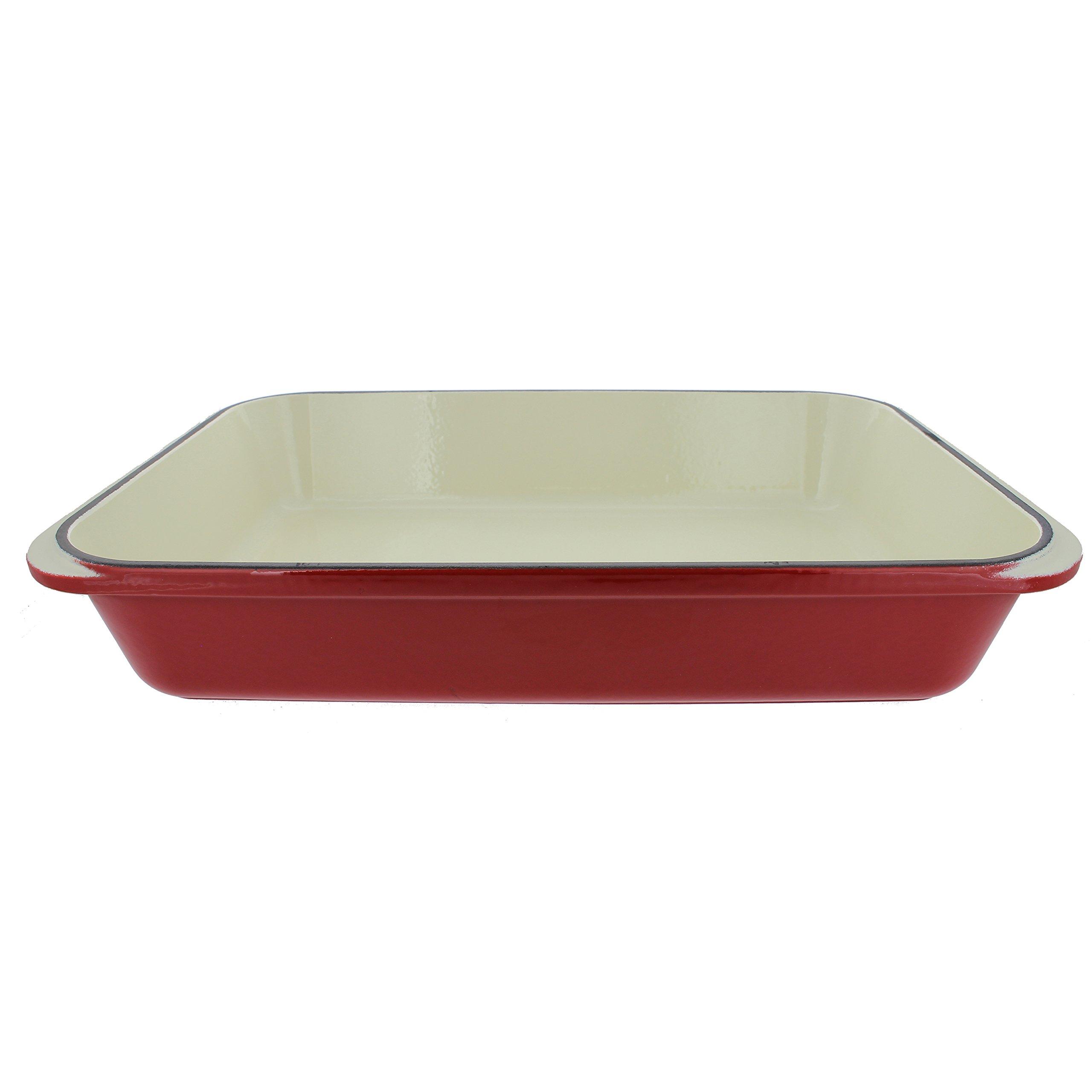 Chasseur 4.25-quart Red French Enameled Cast Iron Rectangular Roaster