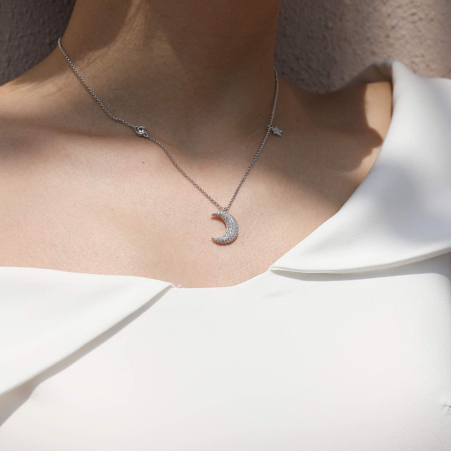 Star Moon Necklaces 3A Cubic Zirconia for Women Jewelry Pendant Chain for Girls Christmas Gift