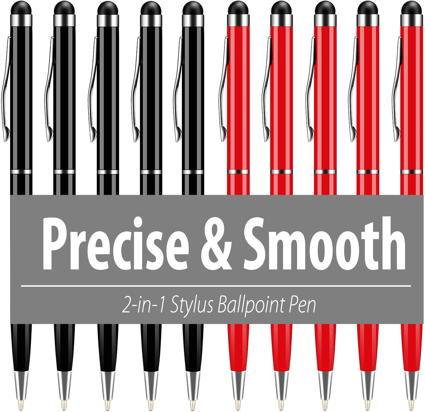 Stylus Pens for Touch Screens,UROPHYLLA 10pcs Universal 2 in 1 Capacitive Stylus Ballpoint Pen for iPad,iPhone,Samsung,HTC,Kindle,Tablet,All Capacitive Touch Screen Device -Black+Red