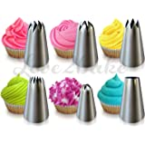 Cupcake Decorating Tip Set by Love2bake - MEDIUM SIZE Stainless Steel Decorating Tips - Closed Star Tip - Open Star Tip - Round Tip - French Tip - Swirl Tip - BONUS Drop Flower Tip
