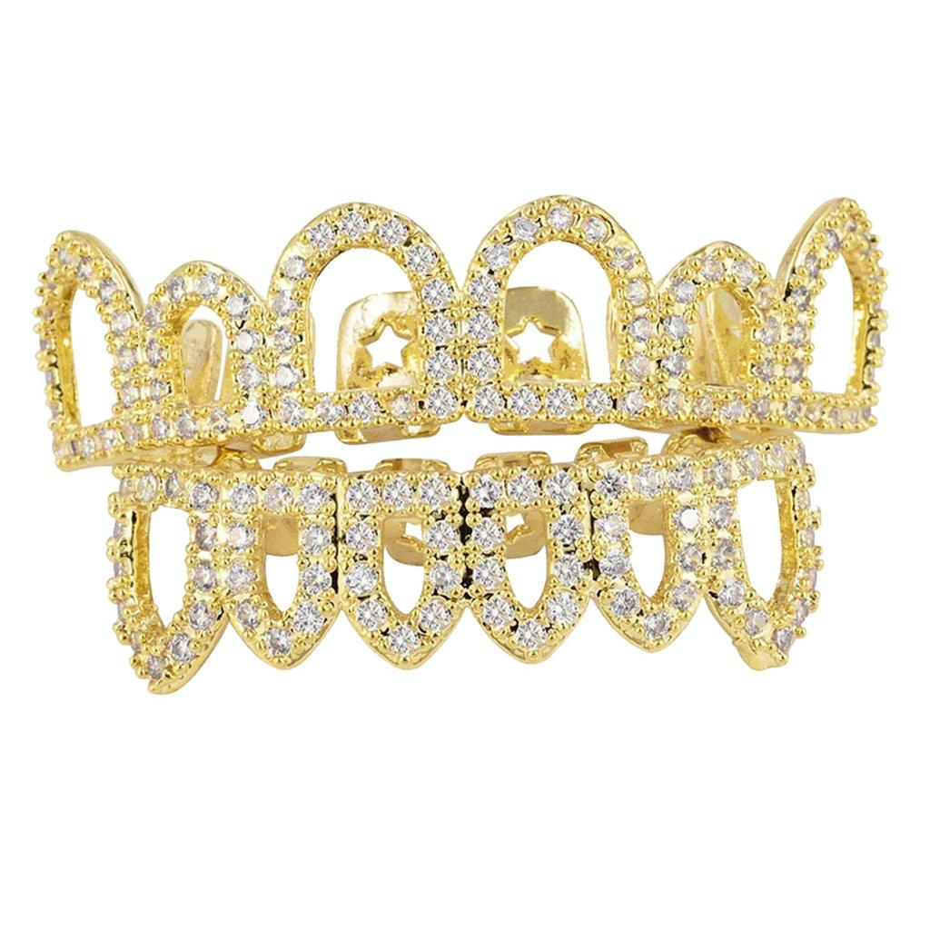 MonkeyJack Luxury 18k Plated Glitter CZ Top Fang Bottom Fang Mouth Teeth Grills Gold/Silver Halloween Hip Hop Cosplay Teeth - Gold