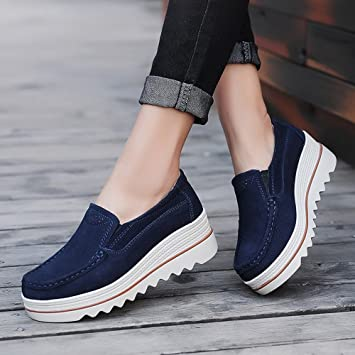 Todaies Women Flats Muffin Shoes Sneakers Leather Casual Shoes Creepers Moccasins