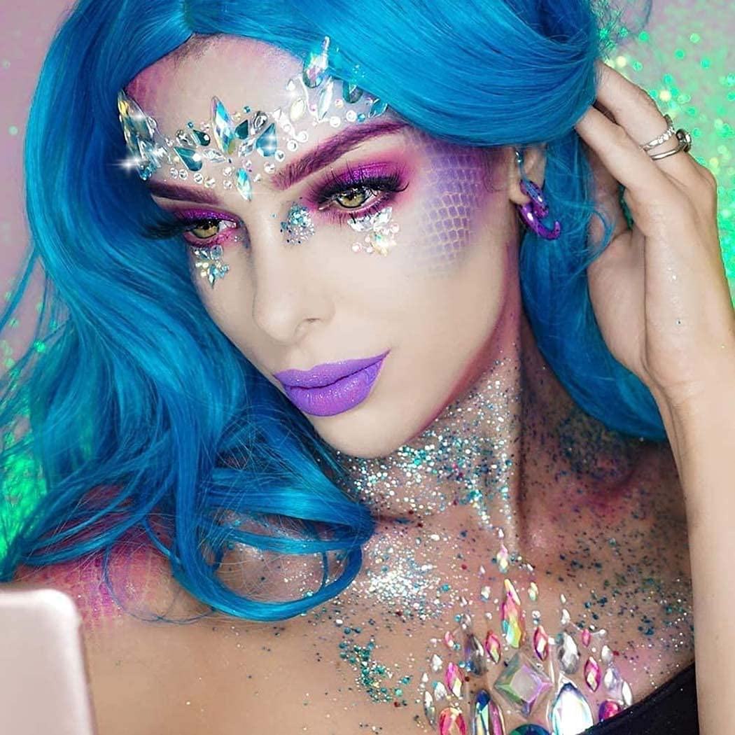 Ludress Crystal Face Stickers Milticolor Glitter Mermaid Body Jewels Face Gems Decoration for Festival Party