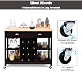 Giantex Kitchen Island on Wheels Kitchen Carts with Storage and Drawers, Wine Rack, Shelves, Glass Holder, Wood Top, Kitchen Rolling Cart Suitable for Home and Restaurant Kitchen Trolley