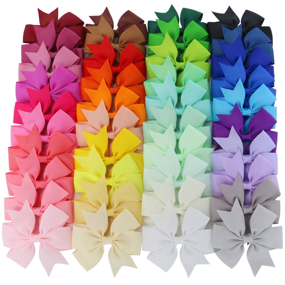 Mybigqueen 40Pcs 3'' Baby Hair Bows For Girls Grosgrain Boutique bow Clips For Teens Toddlers Kids Children infants by Mybigqueen