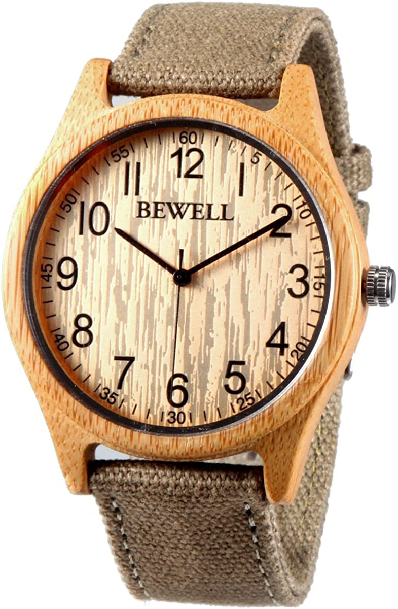 Alienwork Bewell Reloj Hombre Mujer Cañamazo Eco Bambú Madera Natural