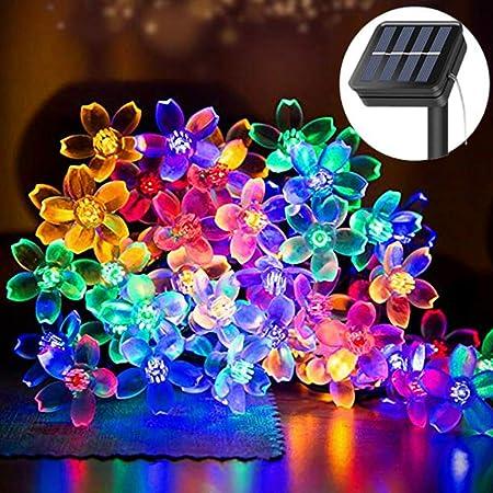 50 Led Solar Fairy String Lights Garden Party Xmas Wedding Multi Col White Blue