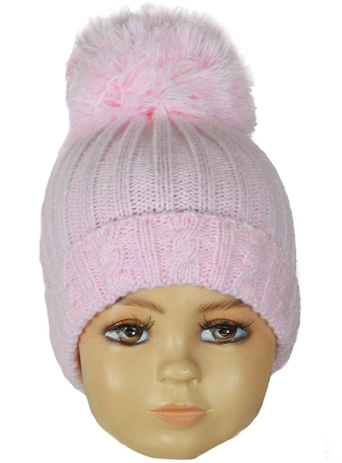 Baby Boys Girls Soft Knitted Pom Pom Hat In Beautiful Colours 0-12 Months H480