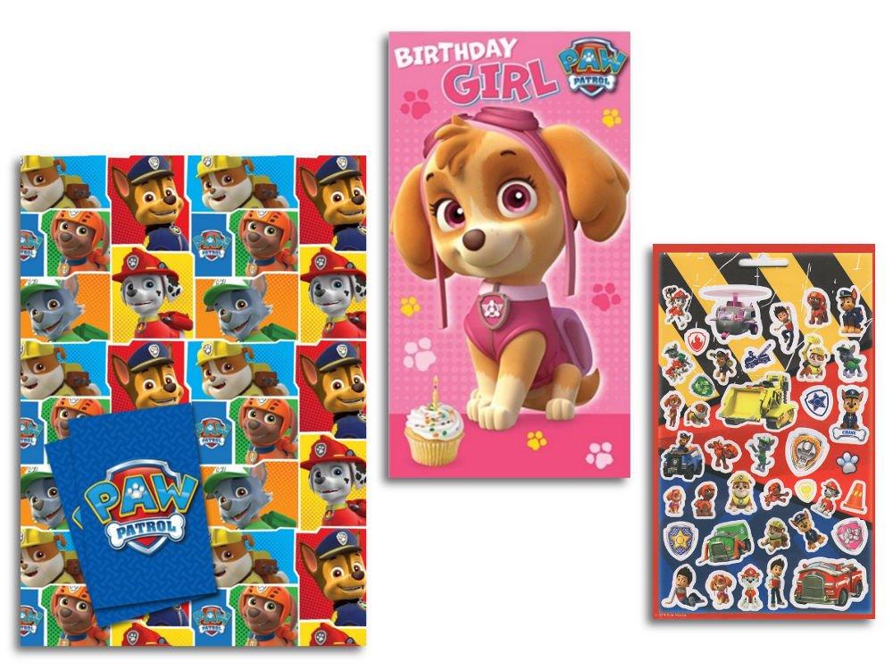 PAW PATROL Gift Wrap Birthday Girl Card Sticker Sheet Amazoncouk Toys Games