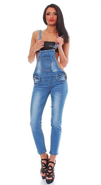 Fashion4Young 10410 Fashion 4YOUNG Donna Salopette pantaloni con bretelle  alla Jeans Overall Jeans bretelle Blau M   44  Amazon.it  Abbigliamento cc81c01c7fd4