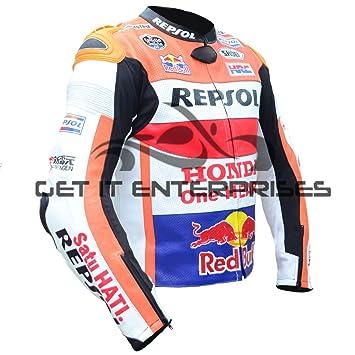 GET IT Marc Márquez - Chaqueta de piel para motos de carreras, R&eacute