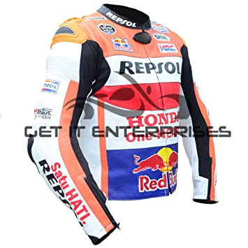GET IT Marc Márquez - Chaqueta de piel para motos de carreras, Ré