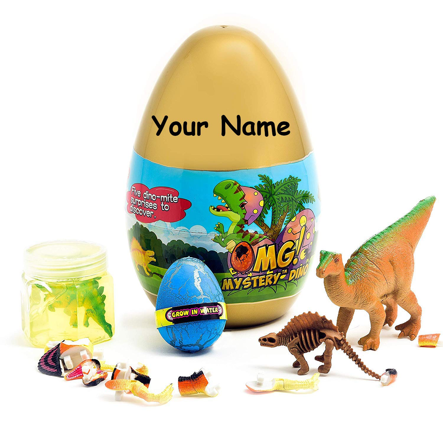 O.M.G! Personalized Jurassic Dinosaur 5 Surprise Dino Egg Filled with Puzzles, Dino Action Figures, Slime, Fossils, Fun, and More by O.M.G!