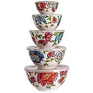 Melamine Bowls with Lids, 10-Piece Set (5 bowls, 5 lids) Floral Pattern