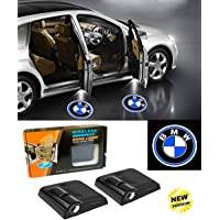 LSDD 2Pcs Wireless Universal Car Projection LED Projector Door Shadow Light Welcome Light Laser Emblem Logo Lamps Kit No Drilling Required (BMW)