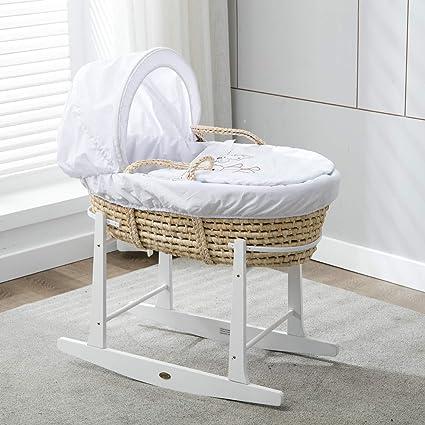Mcc® Moisés cesta para Bebé recién nacido cesta en Palma natural con sábanas de algodón blanco y colchón (color blanco)