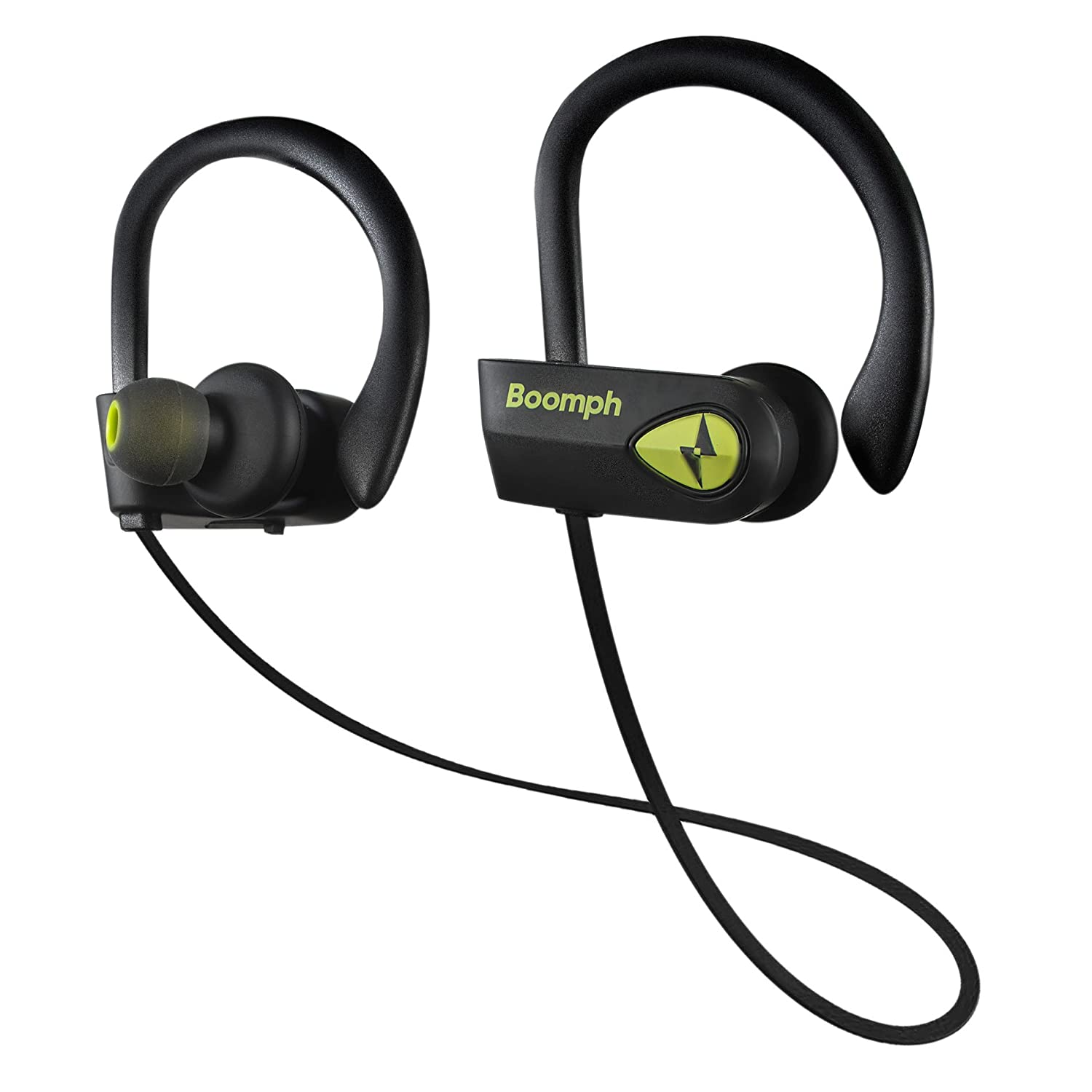 BOOMPH Bluetooth Headphones, Best Wireless Sports Earphones w Mic IPX7 Waterproof HD Stereo Sweatproof Earbuds for Gym Running Workout 8 Hour Battery Noise Cancelling Headsets