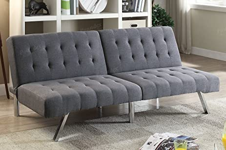 modern tufted 3 seater futon convertible sofa bed  grey linen like fabric  amazon    modern tufted 3 seater futon convertible sofa bed      rh   amazon