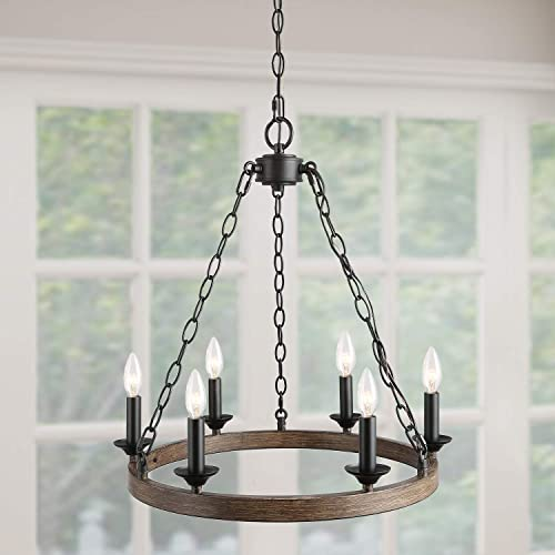 Wagon Wheel Chandelier, Dining Room Light in Rustic Faux Wood Metal Finish, 20 Round Farmhouse Pendant Light Fixture for Kitchen Island, Living Room