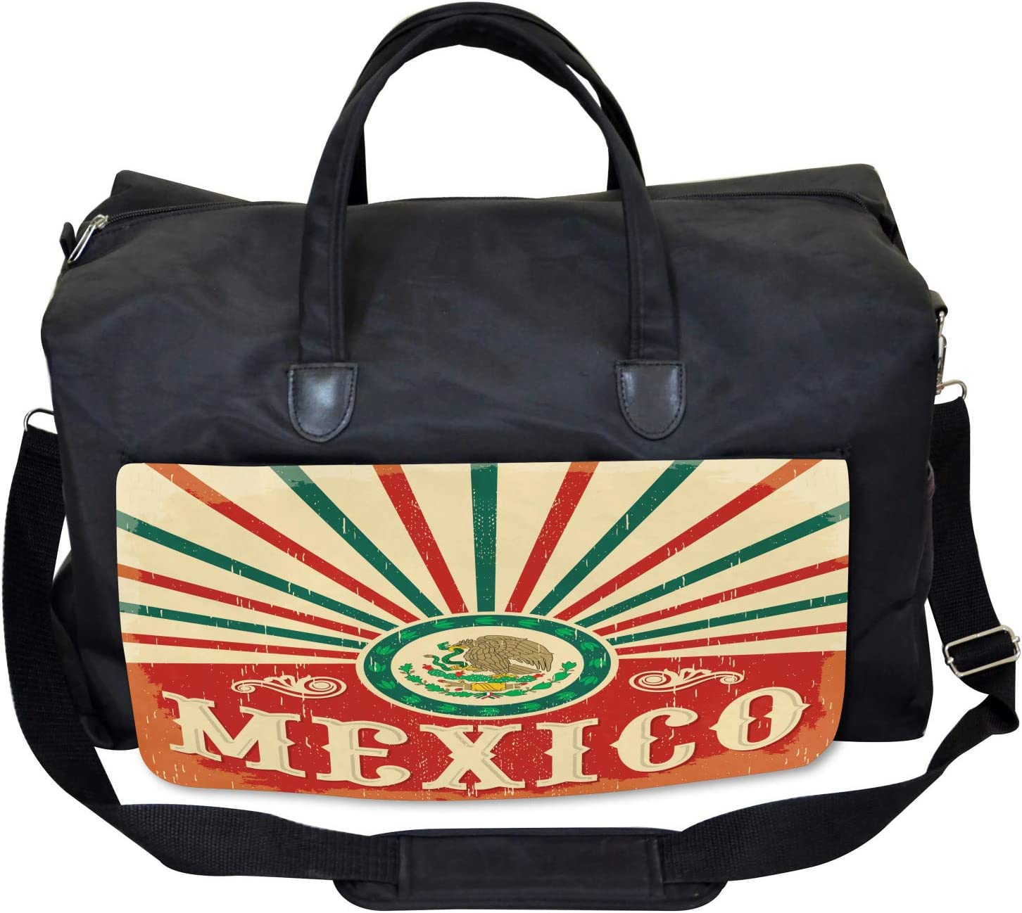 Vintage Poster Effect Large Weekender Carry-on Ambesonne Mexican Gym Bag