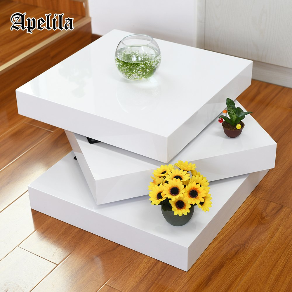 Apelila High Gloss White Square Rotating Coffee Table Wood Rectangular Modern Side/End/Sofa Table 3 Layers Living Room Home Office Furniture by Apelila