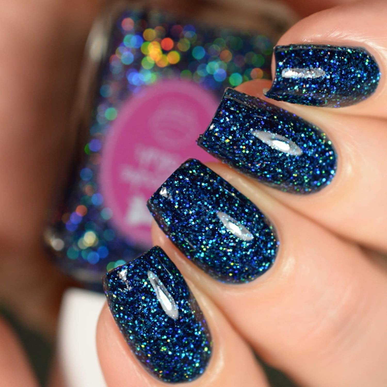 Amazon.com: Sapphire - navy blue glitter holographic nail polish by ...