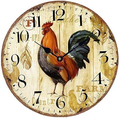 VieVogue Horloge Murale Silencieuse Pendules Murales D/écorative En Bois Style Vintage Rustique Minable D/écor Cuisine Maison Chic pour le Salon Chambre Cuisine Bureau sans Tic Tac Paris, 30cm