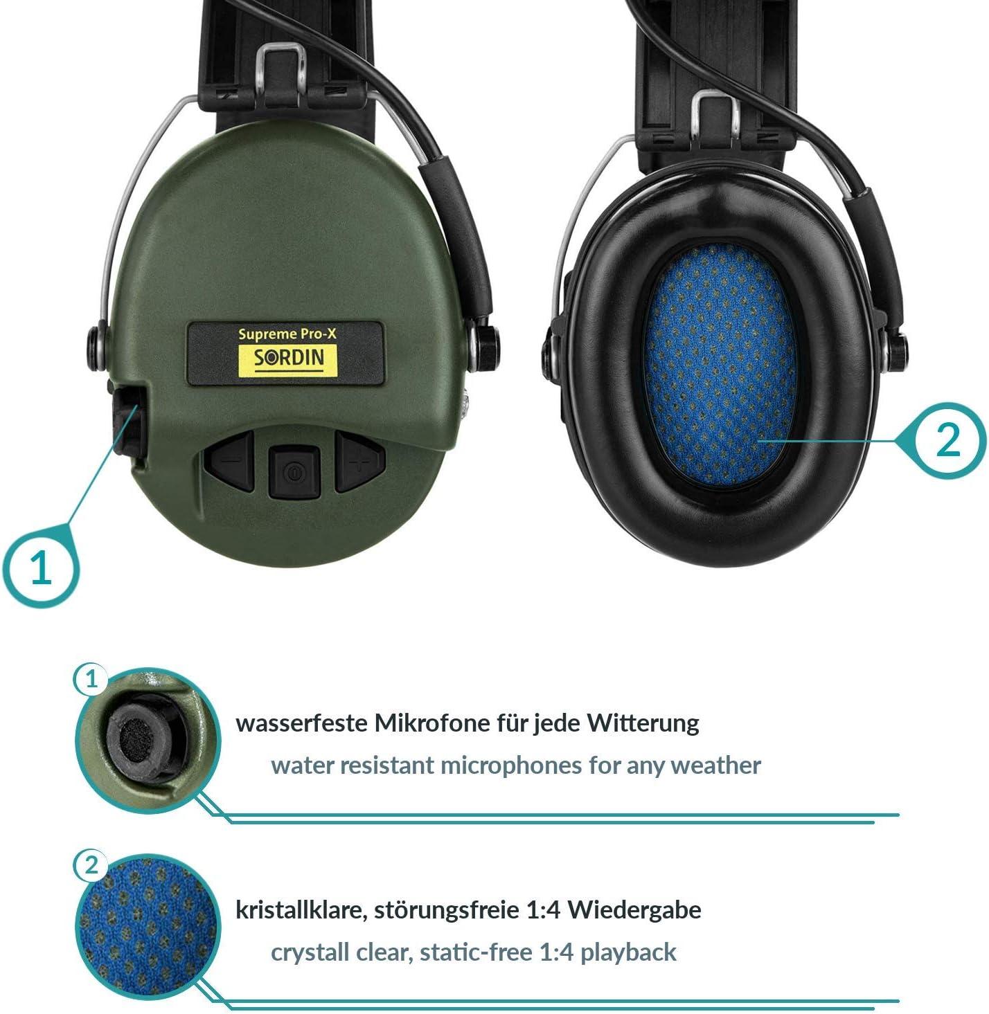 Protection Auditive SOR75302-X//L Sordin Supreme Pro X Casques Antibruit /Électroniques /à Forte Att/énuation Coques doreilles Vertes
