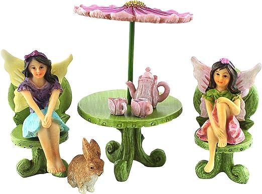 PRETMANNS Jardín de Hadas en Miniatura – Accesorios – Dos Figuras de Hada con Muebles – 9 Piezas – Suministros: Amazon.es: Jardín