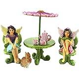 Pretmanns Fairy Garden Accessories – Miniature Fairies & Furniture Ornaments – Flower Umbrella Table Set, Tiny Tea Set & Bunny - 9 Pieces