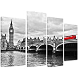 "PICTURE - Multi Split Panel Canvas Artwork Art - Red Bus On Westminster Bridge Black And White River Cloudy London - ART Depot OUTLET - 4 Panel - 101cm x 71cm (40""x28"")"