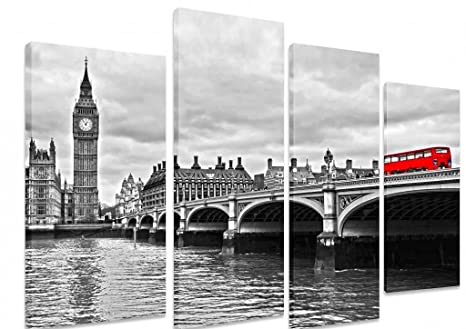 f4901f938cb PICTURE - Multi Split Panel Canvas Artwork Art - Red Bus On Westminster  Bridge Black And