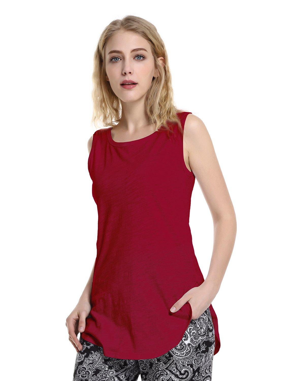 ZAN.STYLE Women's Extra Long Loose Cotton Tank Top Sleeveless Workout Shirt Wine Red Small