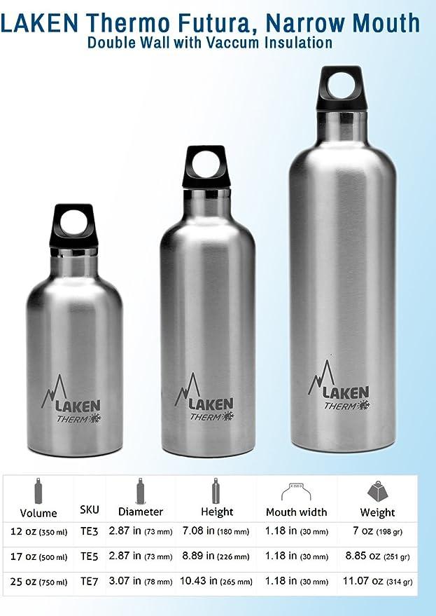 Laken Futura Botella T/érmica Acero Inoxidable 18//8 y Doble Pared de Vac/ío Unisex adulto Plateado 500 ml