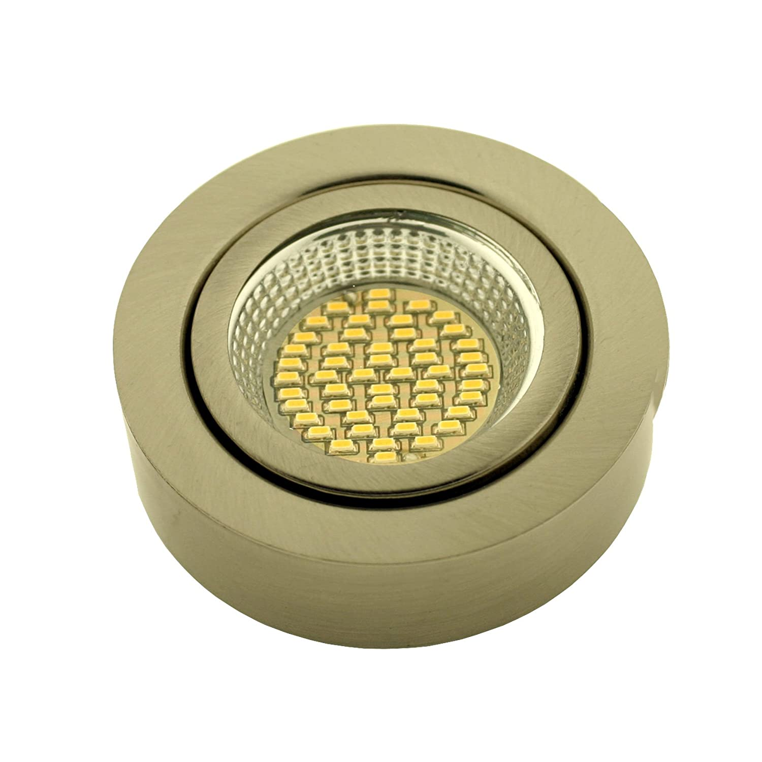 LED ME/® Stainless Steel Round Under Cabinet LED Cupboard//Cabinet Light//Downlight in a Brushed Chrome Finish Warm White 3000-3200K