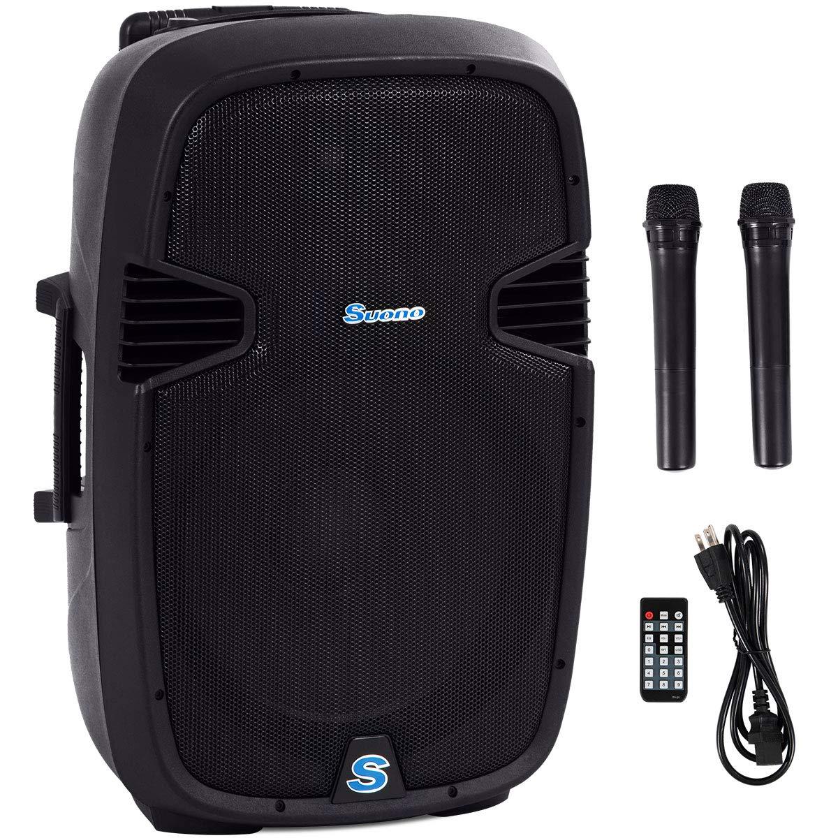 Suono Powered Speakers, 2-Way Full Range Portable DJ/PA Speaker System Set With Microphones/USB/Bluetooth (15'' 1000W)