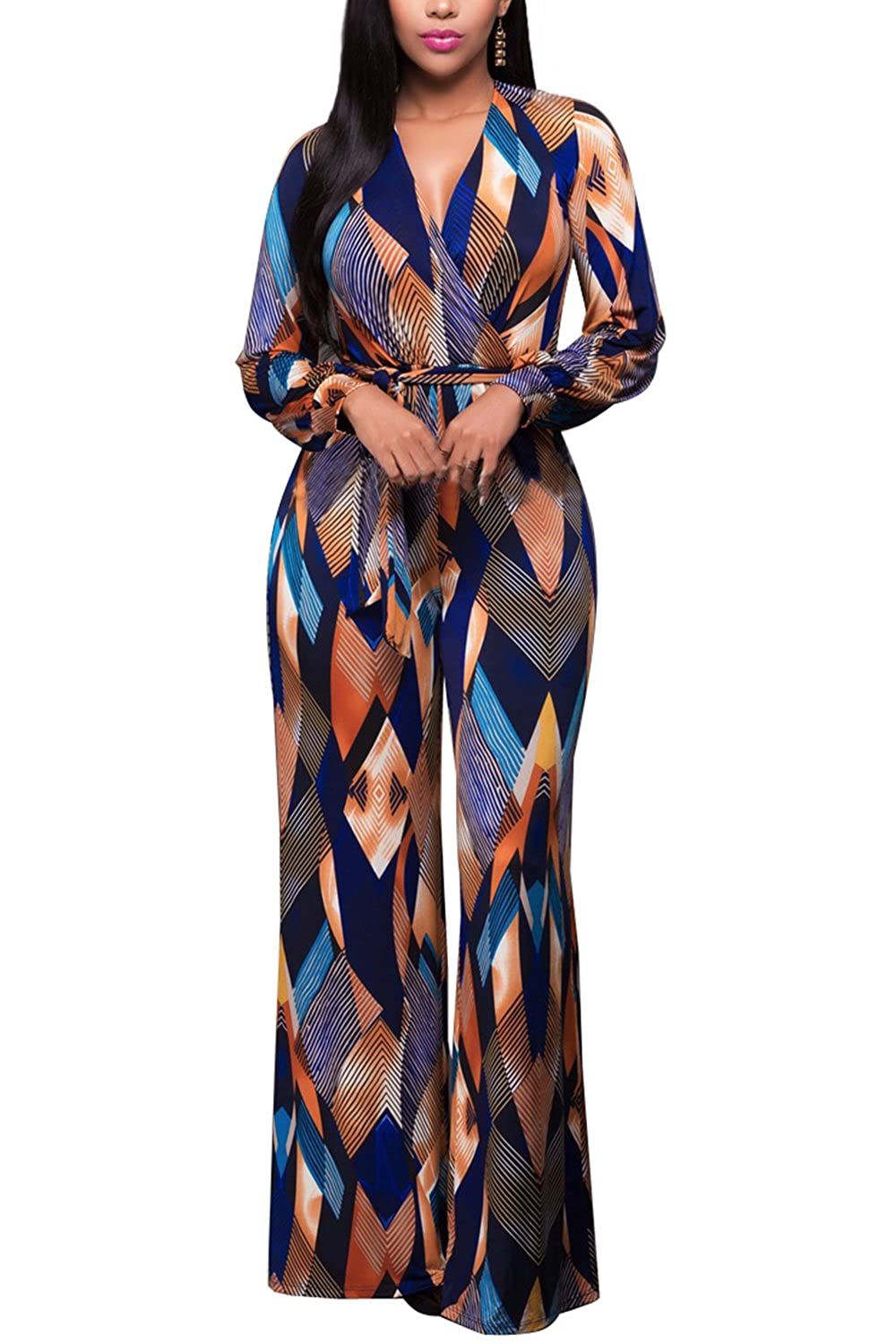 Women Casual Long Sleeve Geometric Print Belted Jumpsuit Loose Palazzo Pants CANZ1445