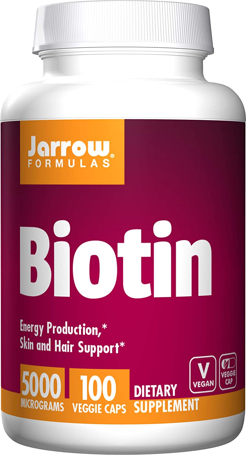 Jarrow Formulas Biotin 5000mcg, Supports Energy Production and Skin Hair Support, 500 mcg, 100 Capsules Pack of 2