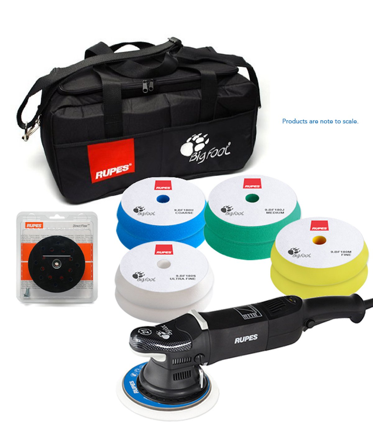 ESSENTIALS KIT Rupes LHR 21 Mark II Big Foot with 8 pads, bag, and 6 inch backing plate