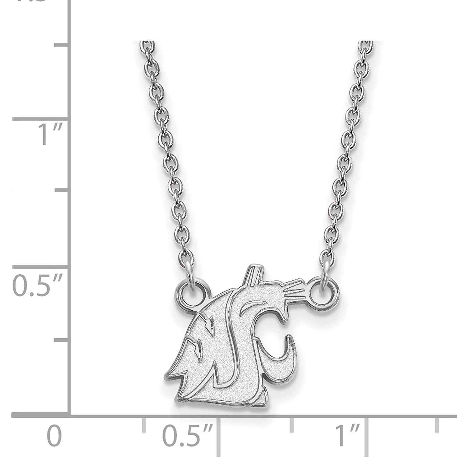 925 Sterling Silver Rhodium-plated Laser-cut Washington State University Small Pendant w//Necklace 18