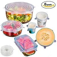 GYOYO 6 Pcs Couvercles Extensibles en Silicone, Couvercle hermétique en Silicone, Couvercle Universel/ Conservation des aliments, Protection Alimentaire , Convient au Micro-ondes/ le four/ le frigo/ le lave-vaisselle, Une serie de 6 tailles differentes.
