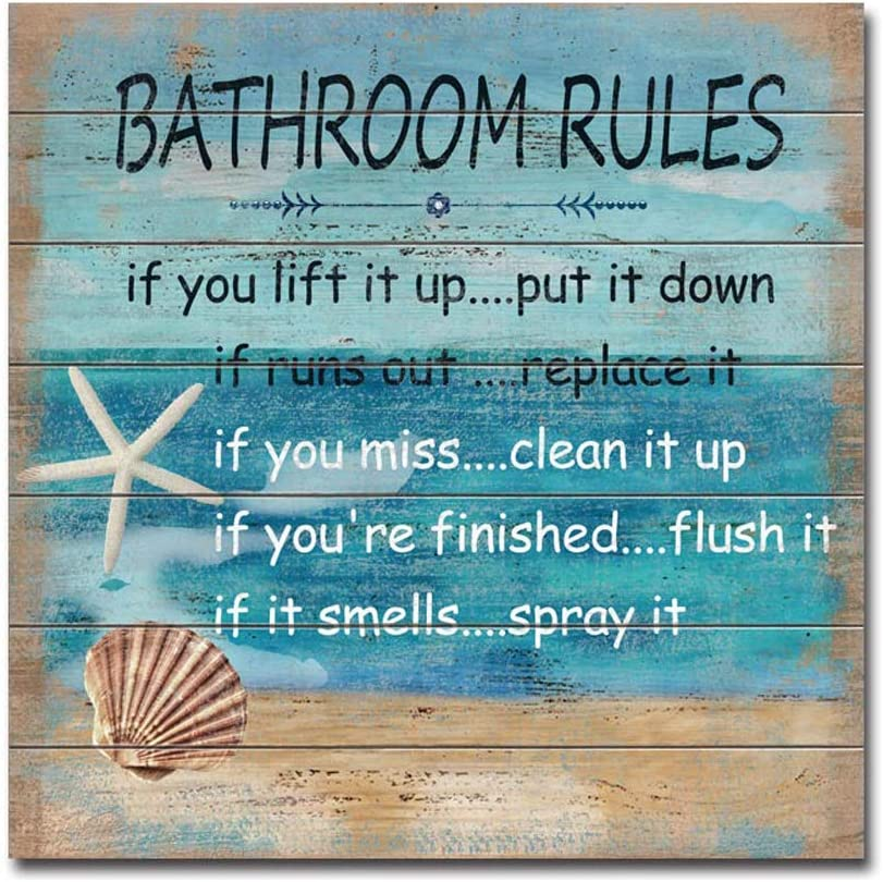 "MACVAD Seashells Bathroom Rules Wall Sign for Bathroom Decor,Funny Bathroom Wall Decor Wall Art for Beach House,Cute Beach Sign Plaque- 12"" x 12"""