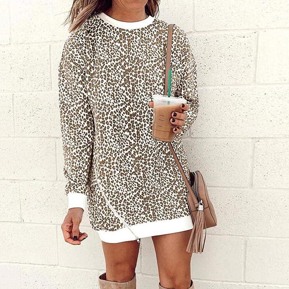 Vestidos Largos Invierno Mujer Playeros Fiesta Leopard Patchwork Sudadera De Manga Larga Jerseys Camisas Blusa Superior: Amazon.es: Ropa y accesorios