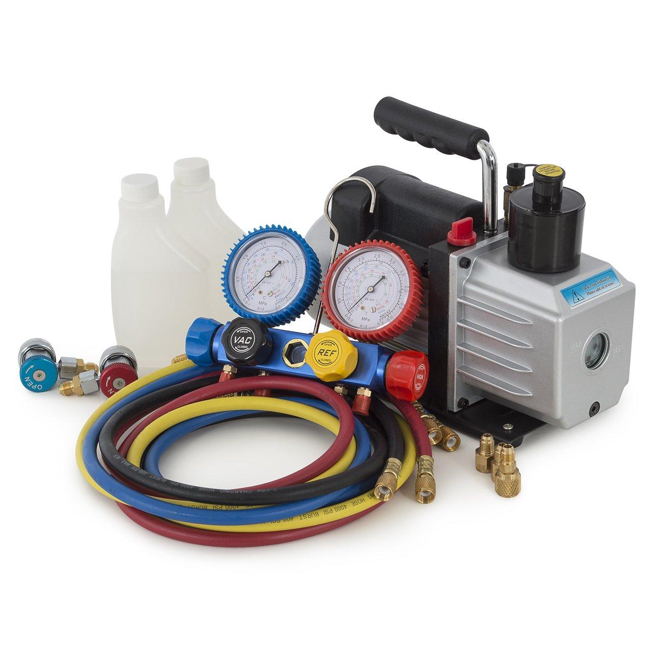 ARKSEN 5CFM 1/2HP Rotary Vacuum Pump 1/3HP w/ AC Manifold Gauge Set R410 R22 R134 R407C