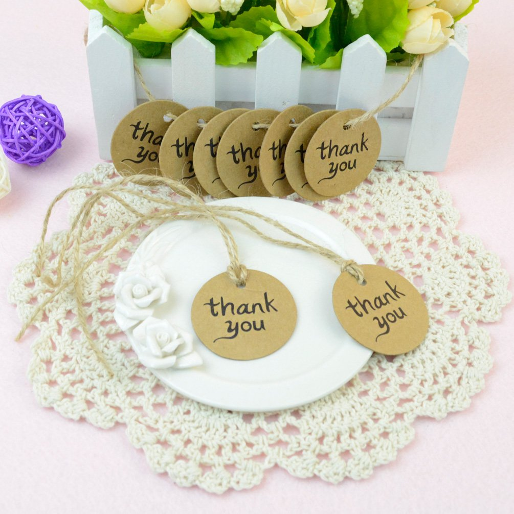 Amazon.com: Dxhycc 100PCS Thank You Wedding Brown Kraft Paper Tag ...