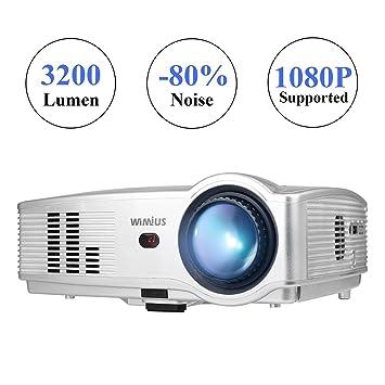 WiMiUS Proyector LED de alta resolución (intensidad 3200 lúmenes ...